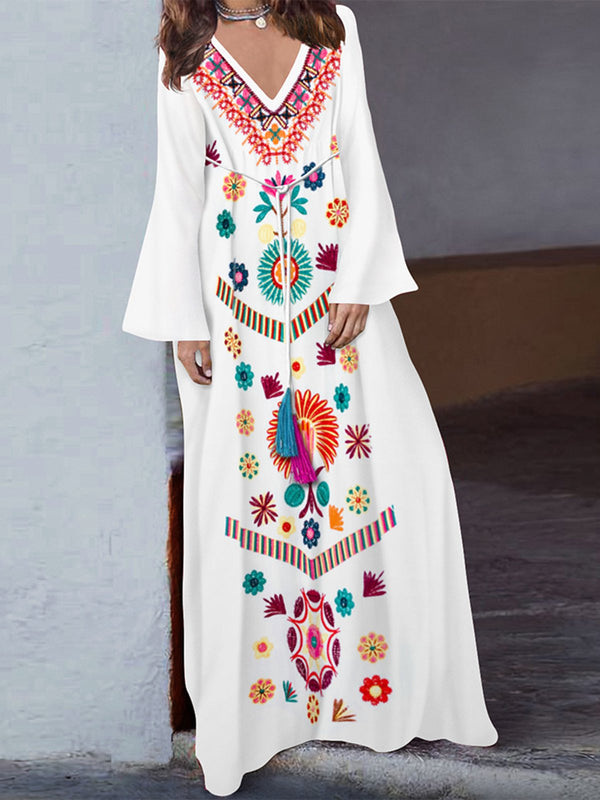 Mostata V neck Casual Boho Embroidered Mexican Maxi Women Dresses