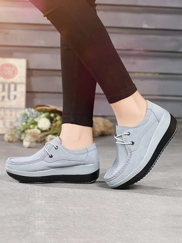 2018 Autumn New Casual Shoes Wedge Round Toe  lace-up shoes