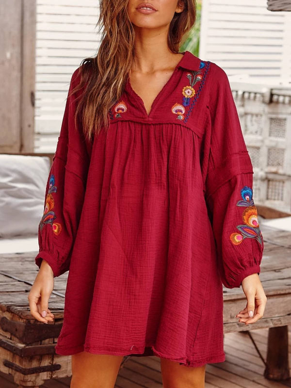 Red Boho V Neck Embroidery Floral Plus Size Dresses
