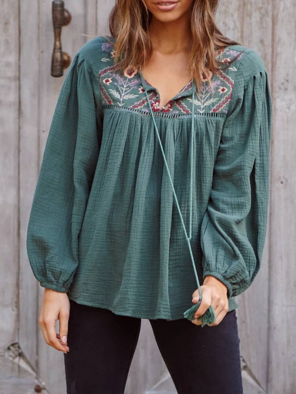 Deep Green Embroidery Long Sleeve Plus Size Blouse