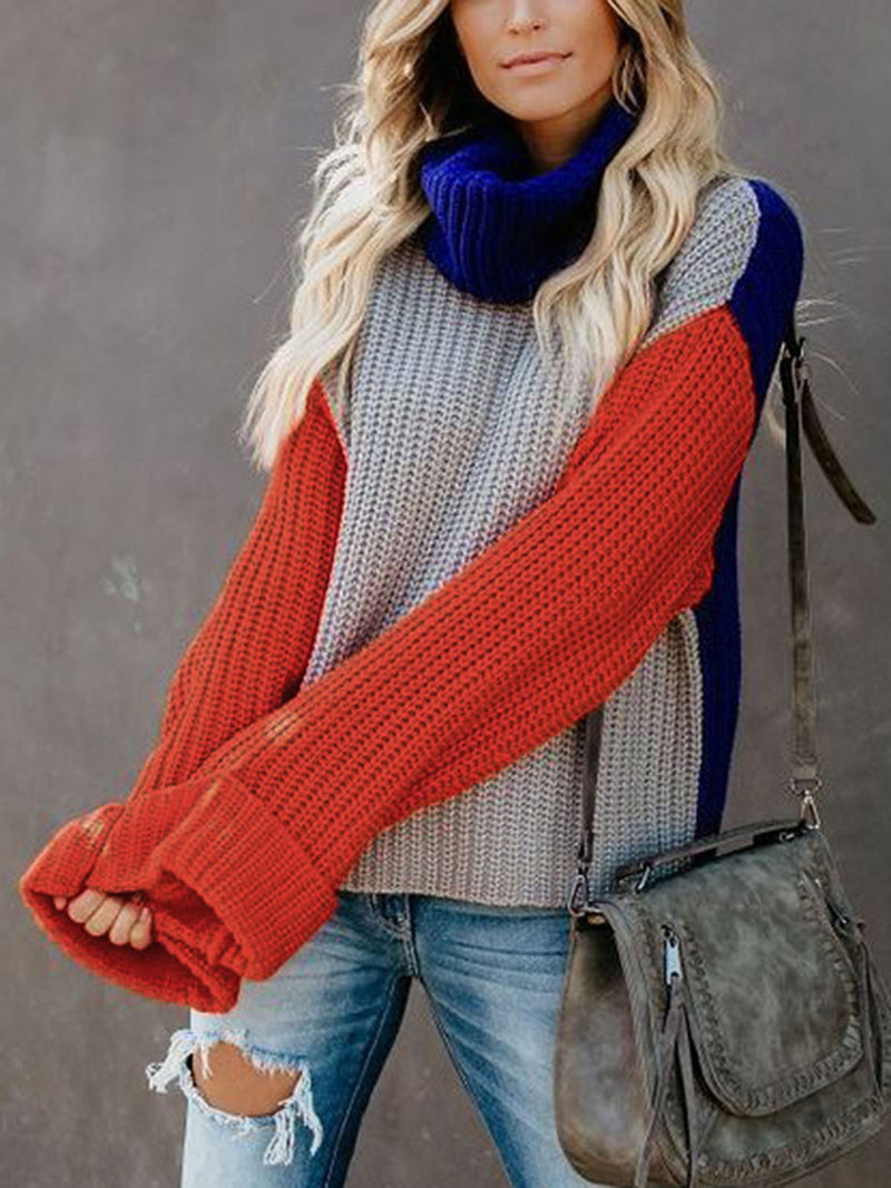Cowl Neck Patchwork Casual Loose Sweater