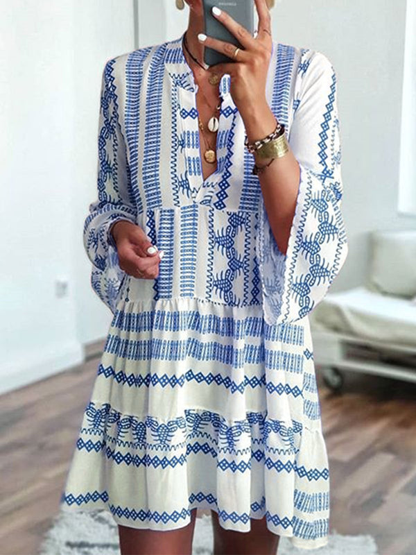Mostata Bohemian Summer Fashion Women Bell Sleeves Printed Holiday Dress