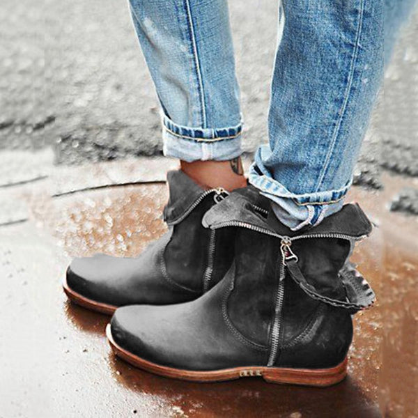 Zipper Casual Retro Boots