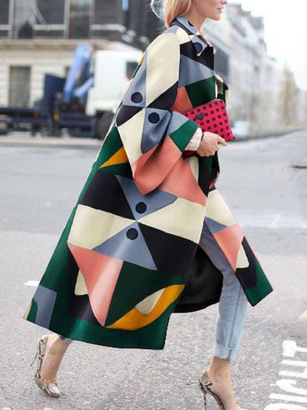 Multicolor Shawl Collar Long Sleeve Geometric Outerwear