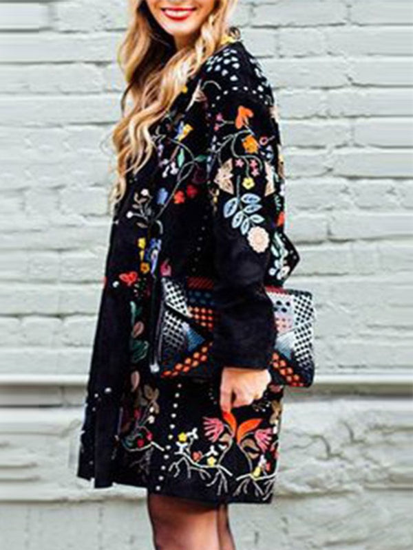 Black Long Sleeve Printed Outerwear