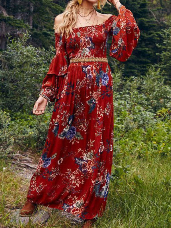 Mostata Women Red Floral Printed Boho Off Shoulder Plus Size Dresses