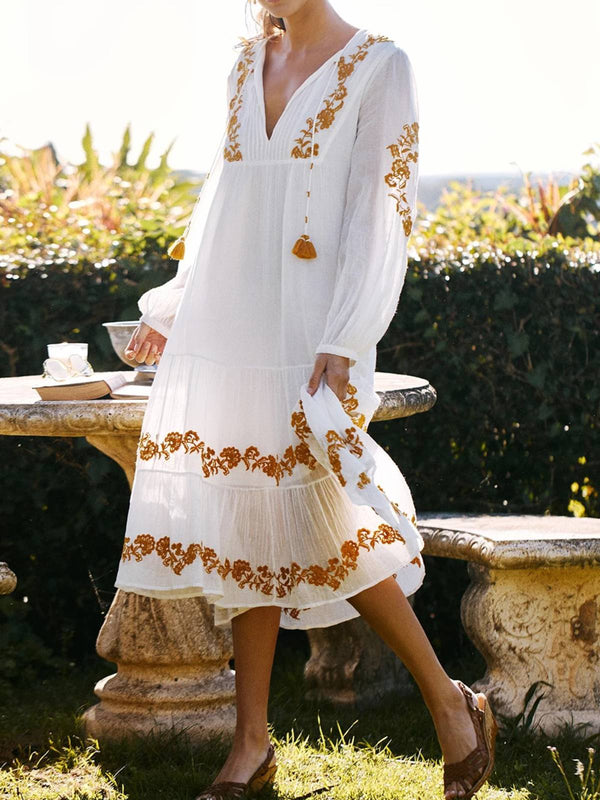 White Long Sleeve Floral Plus Size Dresses