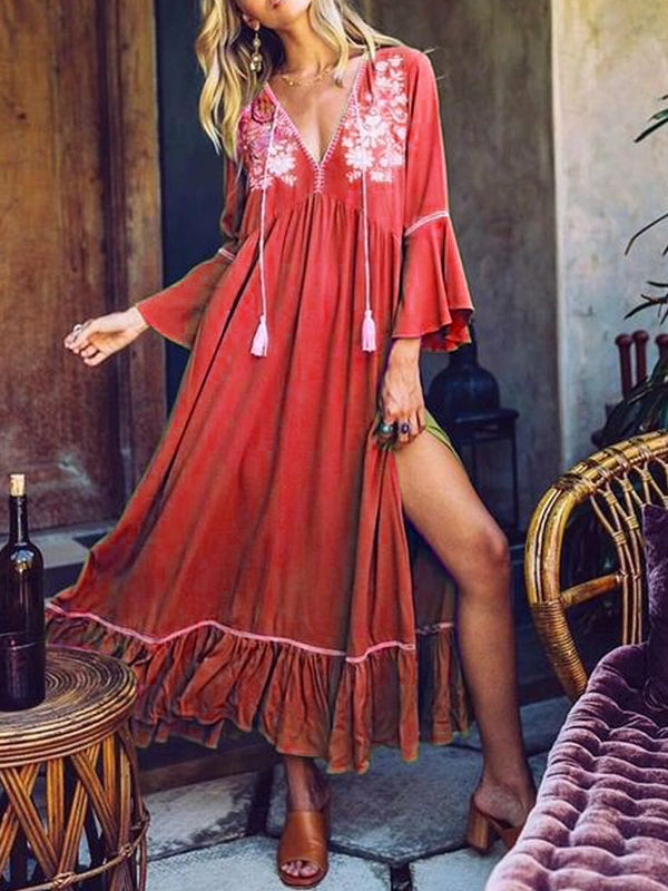 Mostata Women Boho 3/4 Sleeve V Neck Tassel Loose Maxi Dress