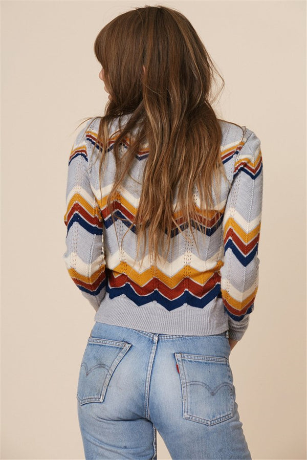 Knitwear Round Neck Pullover Striped Rainbow Sweater