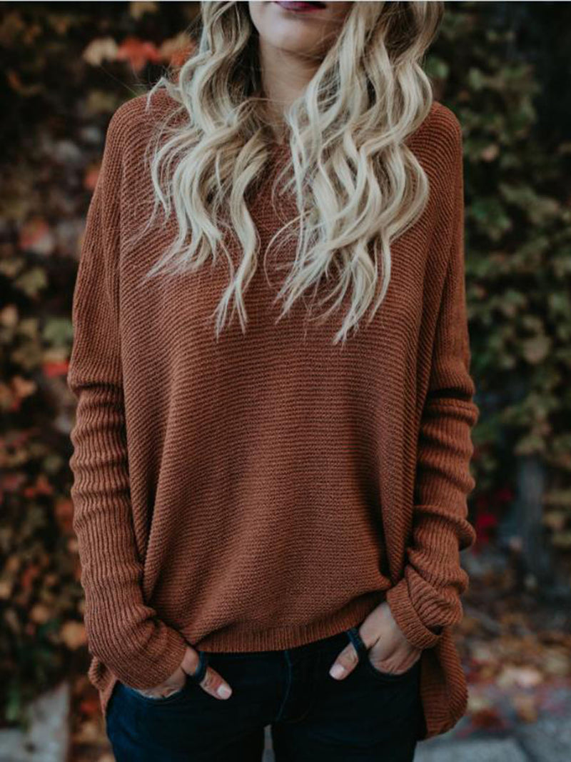 Solid Color Round Neck Casual Loose Sweater