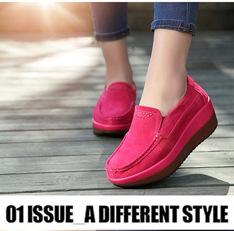 Simple Soft  Platform Shoes Women Suede Slip On Loafers