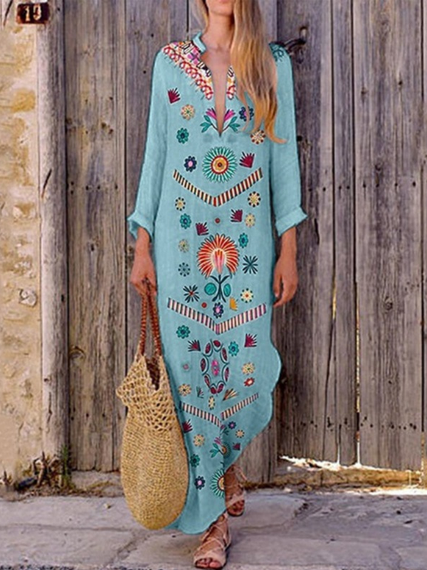 Mostata Long Sleeve Boho Sweet Floral Vacation Maxi Women Dresses