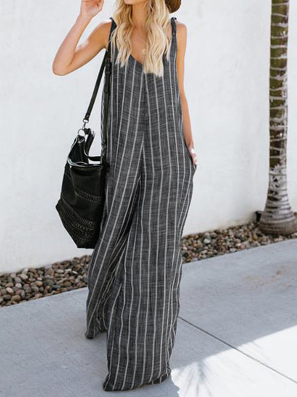 Mostata V Neck Striped Casual Loose linen Jumpsuit