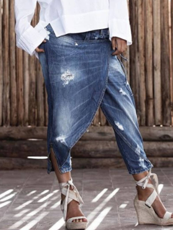 Mostata  Jeans Blue Ripped Patchwork Denim Casual Pants