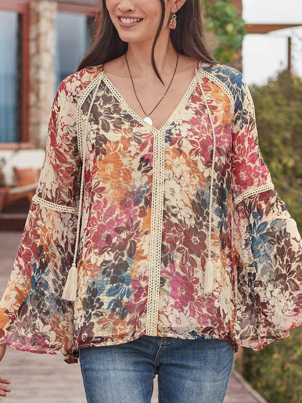 Multicolor Casual Floral Shirts & Tops