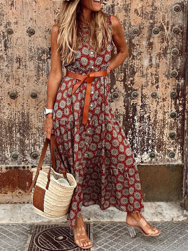 Mostata boho dress Floral-Print Sleeveless plus size Vintage Dresses