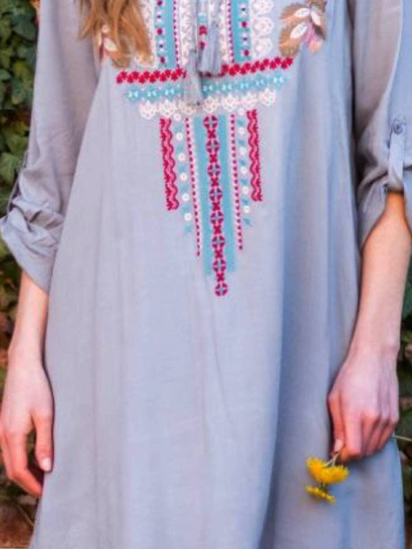 Mostata Gray Crew Neck Boho Embroidered Dresses