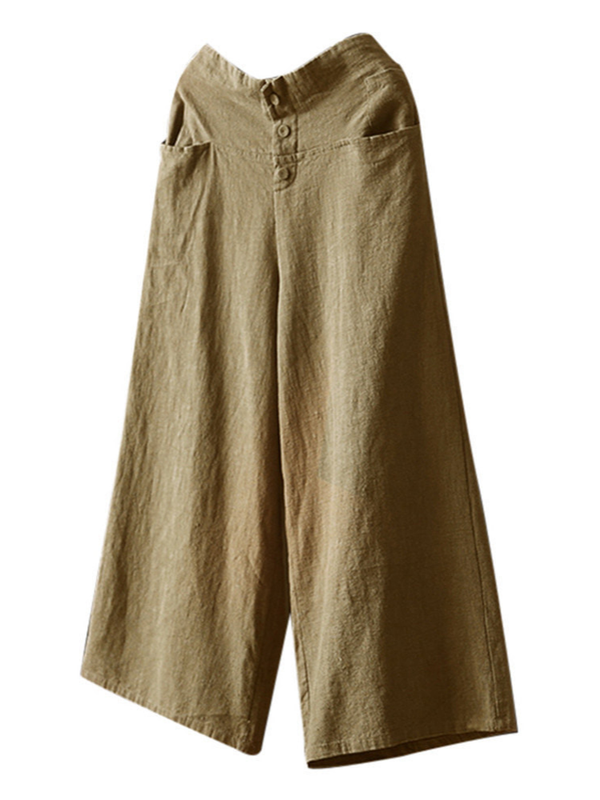 Women Palazzo High Waist Wide Leg Culottes Cotton Linen Trousers Loose Pants