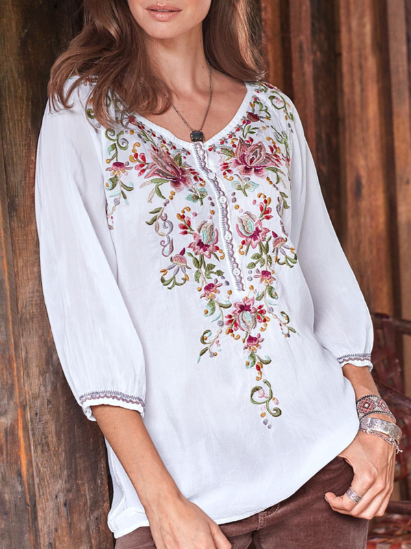 Women's Plus Size Embroidery T-Shirts Long Sleeve Buttoned White Tops