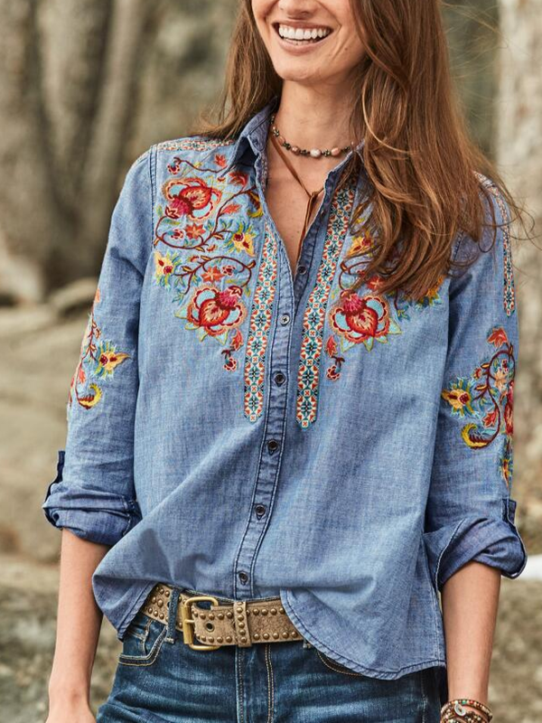 Women's Plus Size Embroidery Buttoned Casual Shirt Collar Tops