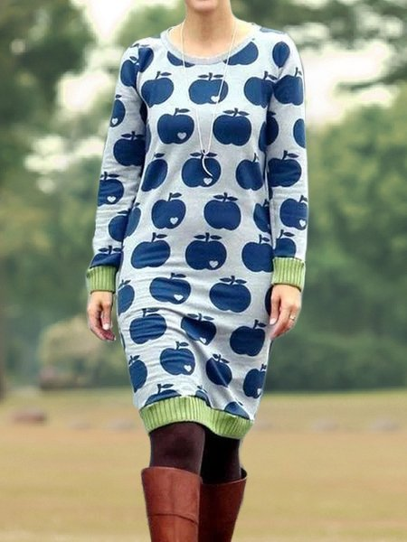 Mostata Women Sweater Dress Casual Printed Dresses