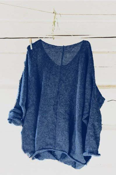 Mostata Casual Knitted Long Sleeve V neck Solid Blouse