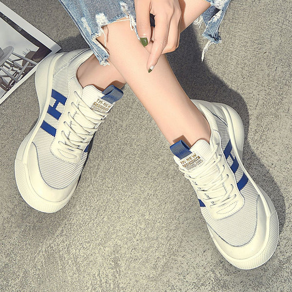Women Lace-up Mesh Sneakers Low Heel Athletic Shoes