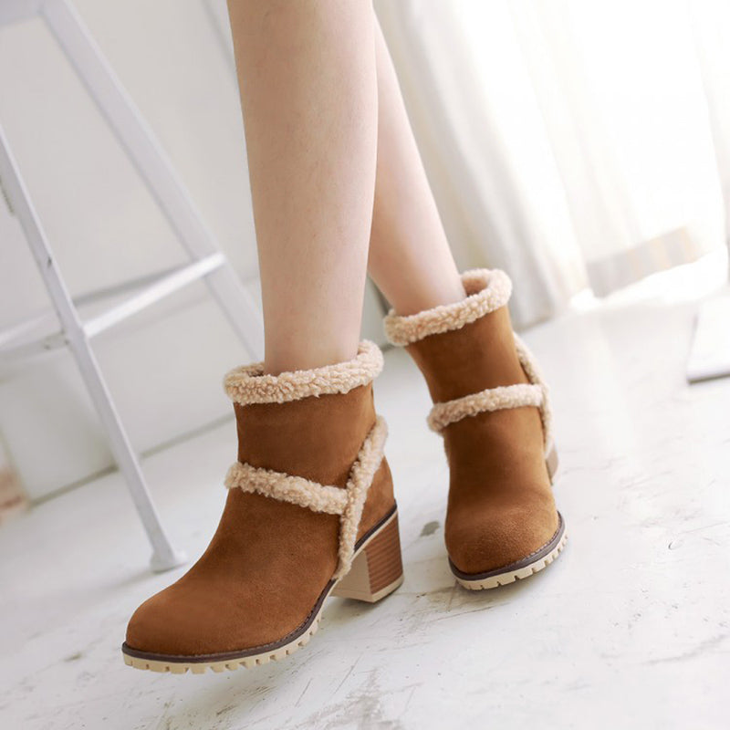 Large Size Chunky Heel Artificial Suede Soft soled Non-Slip Short Boots