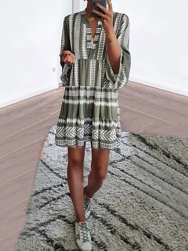 2019 Summer Dresses Green Basic V Neck Casual Dresses Mostata Clothing