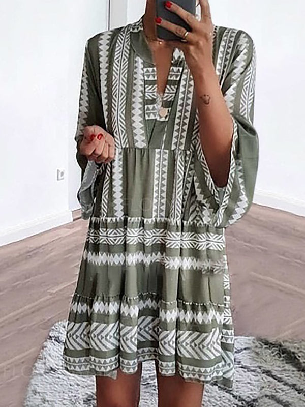 Mostata Boho Green Basic V Neck Casual Summer Women Dresses
