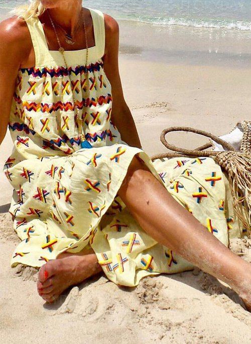 Mostata Beach Boho Sleeveless Casual Women Dresses