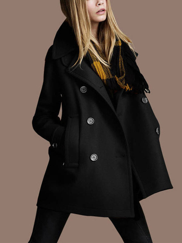 Double-Breasted Long Sleeve Autumn Winter Mid-Length Thick Trench Coats