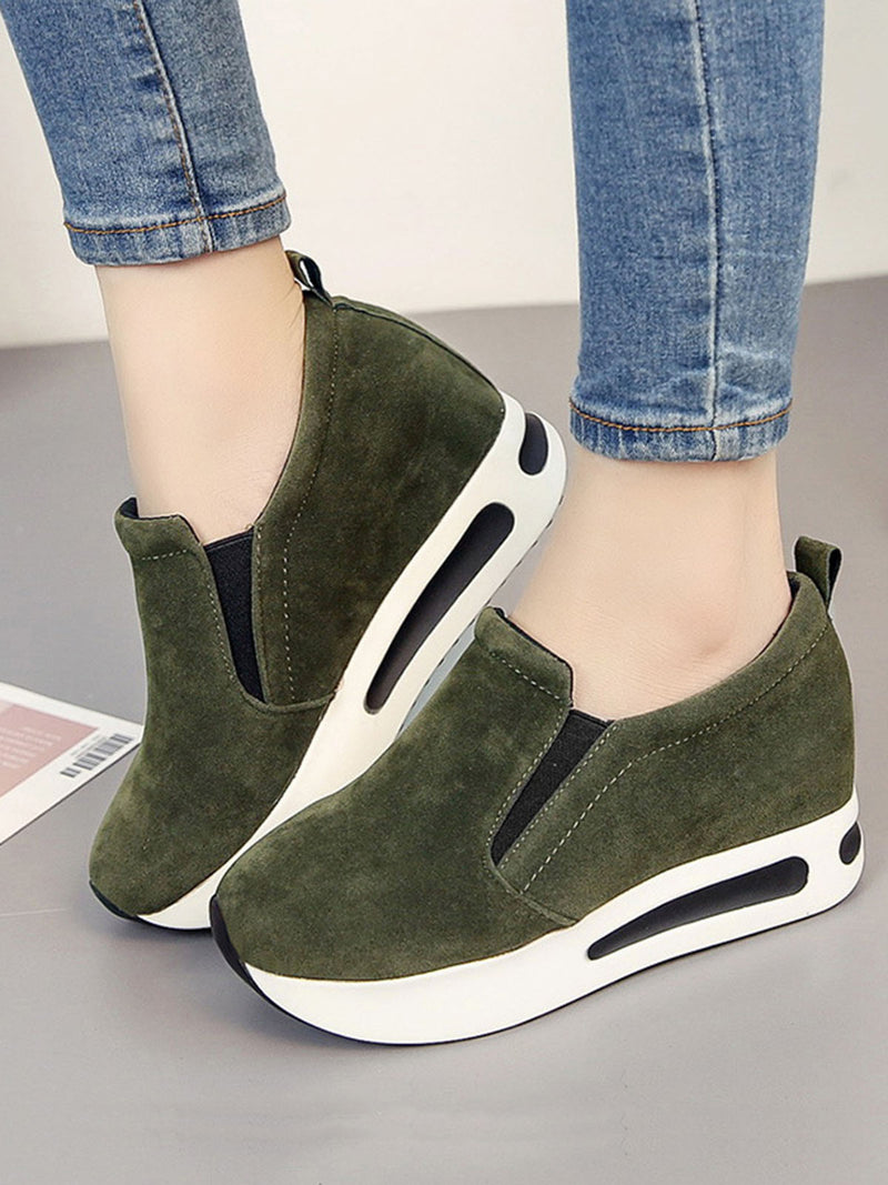 Women Fashion Casual Fall Shoes  Slip On Platform  Elastic Band  Sewing
