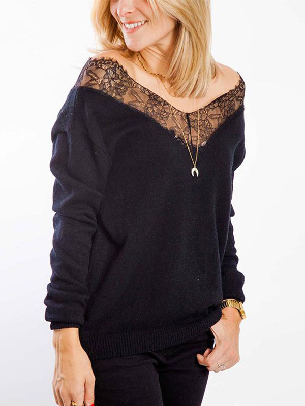 V Neck Lace Patchwork Sweatershirts