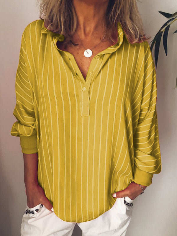 Mostata Stripes V Neck Casual Long Sleeve Blouses