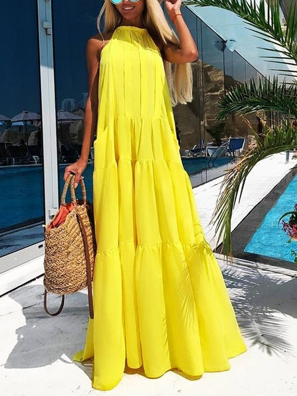 Plus Size  Solid Sleeveless Casual Maxi Dresses
