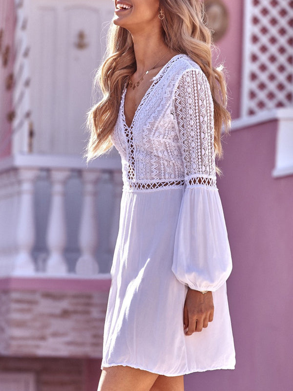 Solid Holiday V Neck Balloon Sleeve A-line Crocheted Back Lace-up Mini Dress