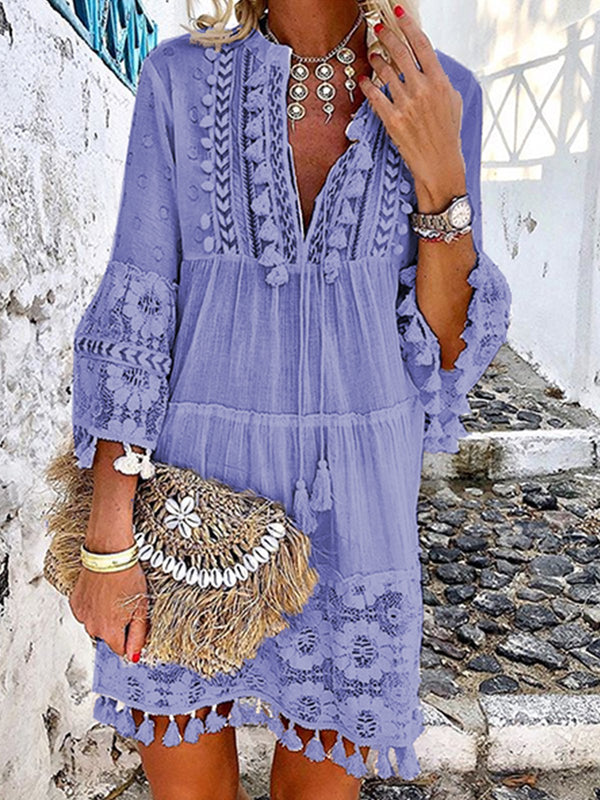 Mostata 3/4 Sleeve V Neck Holiday Boho Women Dresses
