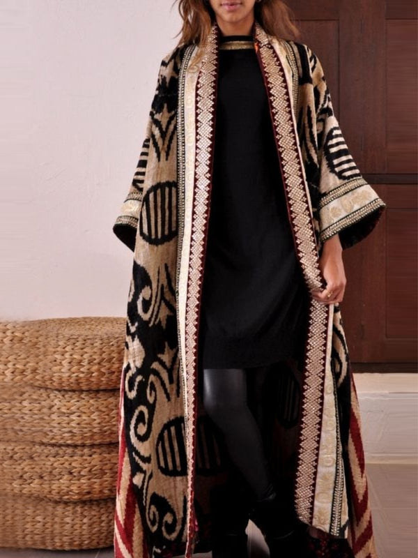 As Picture Knitted Printed Long Sleeve Outerwear