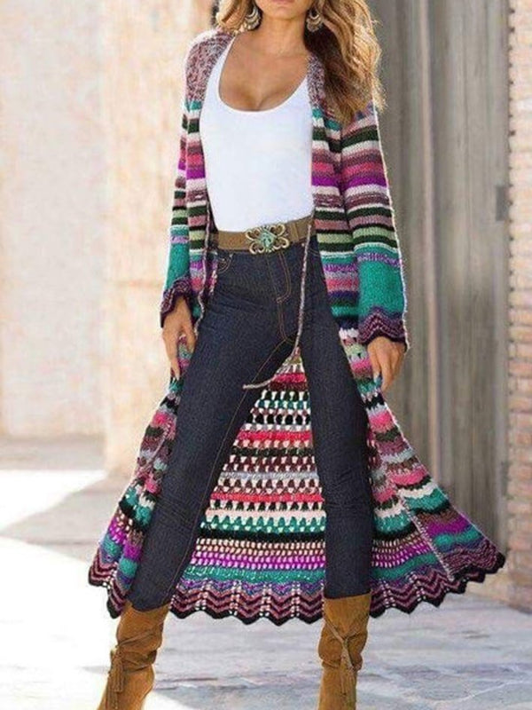 Mostata Women's Multicolor Shift Knitted Long Sleeve Tribal Outerwear