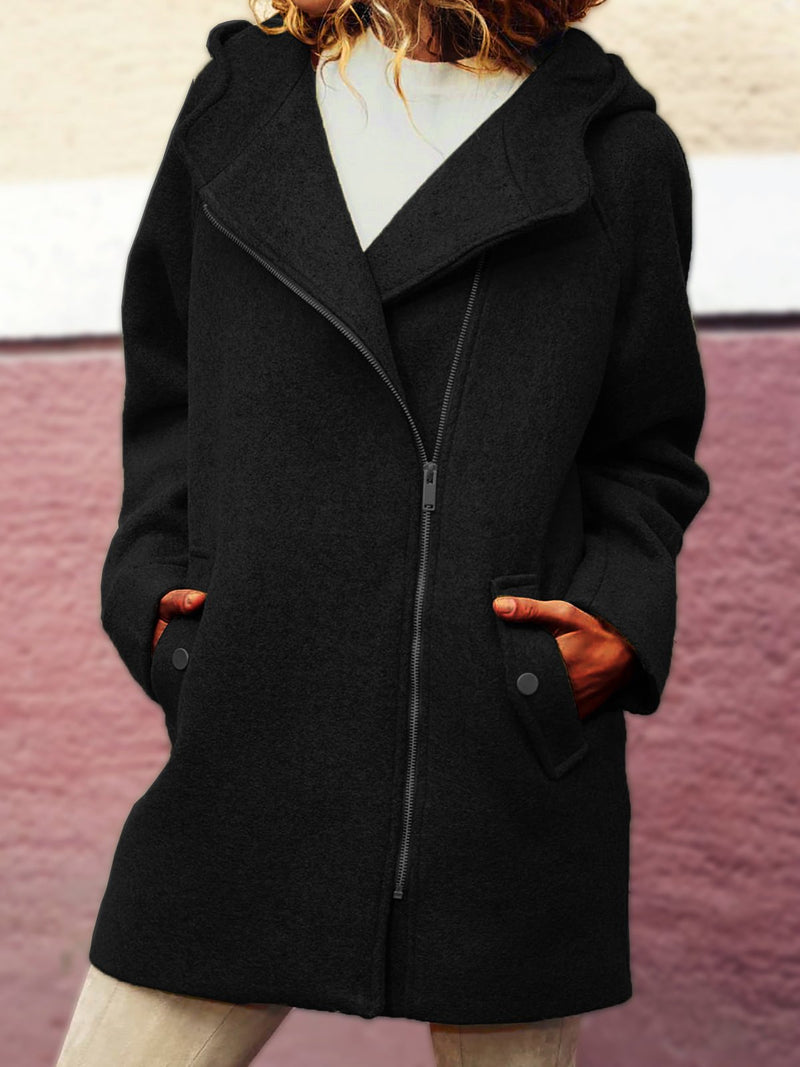 Hooded Asymmetrical Zipper Jackets Plus Size Coat Outerwear