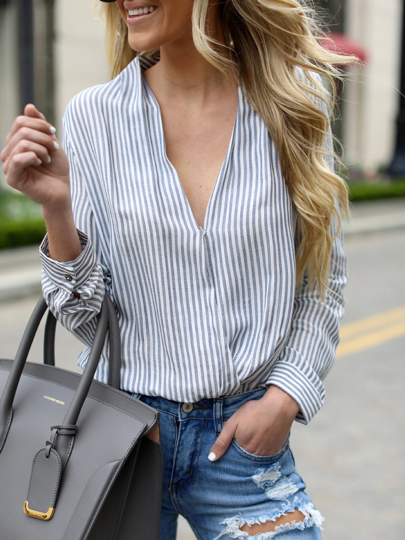 Blue Casual V Neck Striped Blouses & Shirt