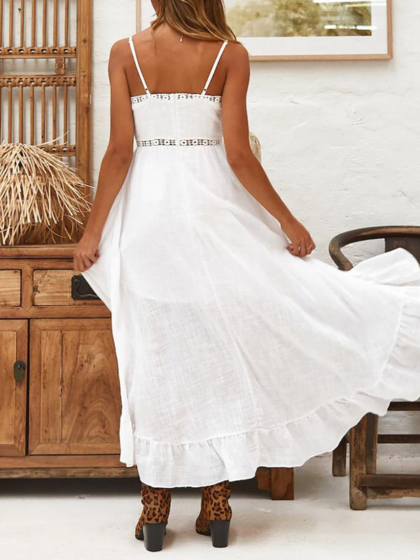 Mostata Bohemian White Swing Spaghetti Cotton  Solid Summer Women Dresses