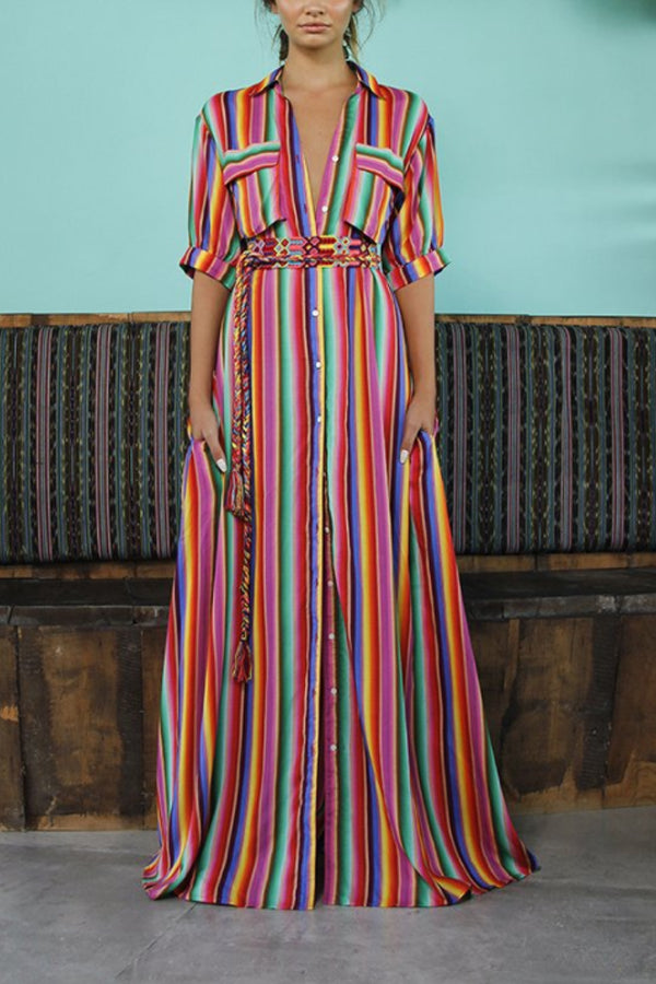 Swing Beach Boho Pockets Striped Maxi Dress