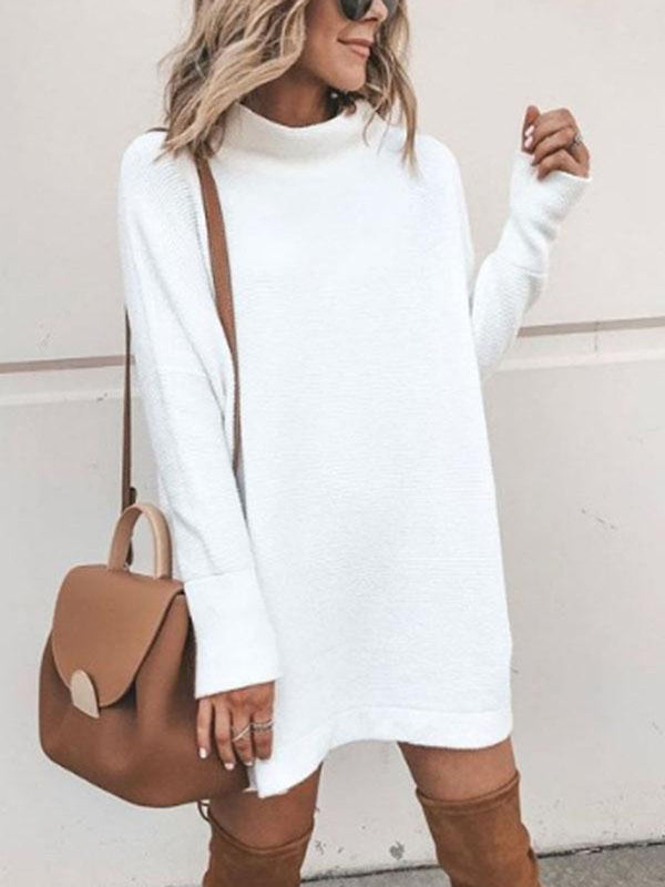 White Knitted Turtle Neck Long Sleeve Sweaters