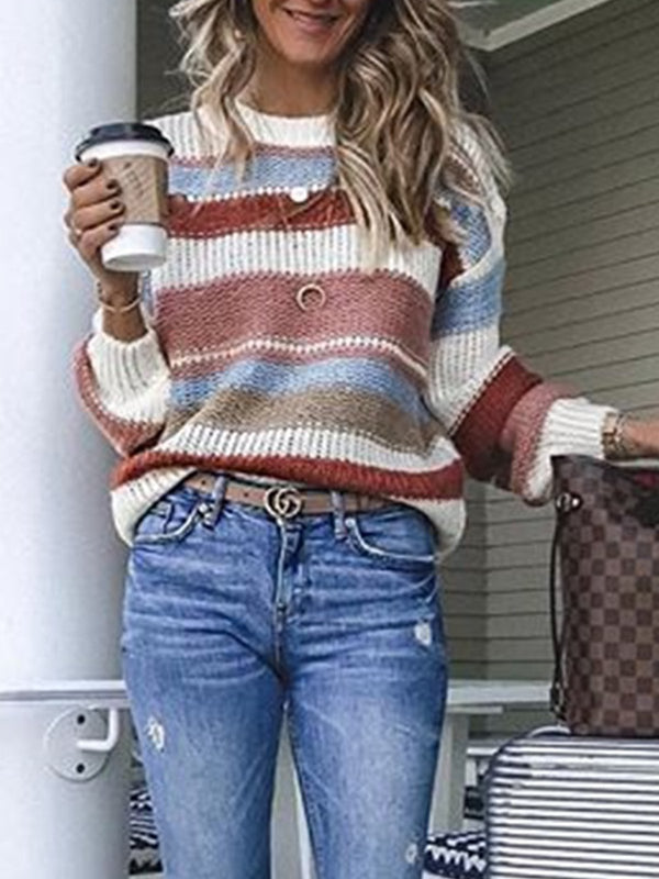 Mostata Plus Size Multicolor Striped Long Sleeve Statement Sweaters For Women