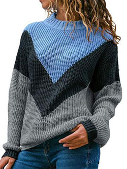 Solid Round Neck Patchwork Sweaters