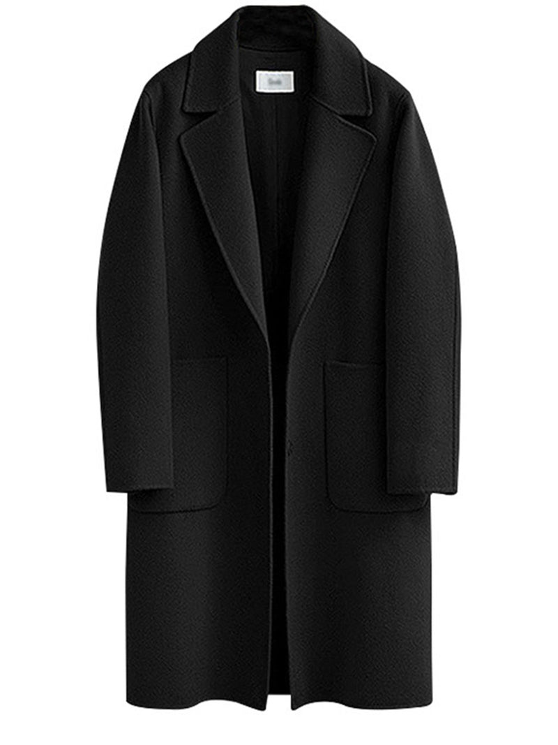 Long Sleeve Lapel Casual Solid Plus Size Coat