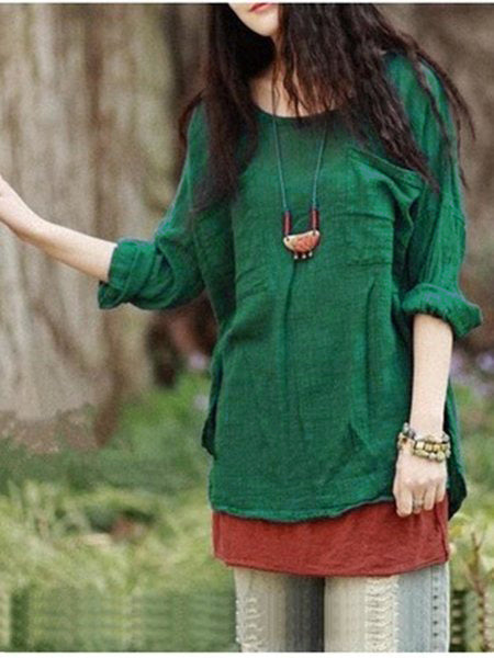 Vintage Pure Color Long Sleeve Pockets Loose Women Shirts