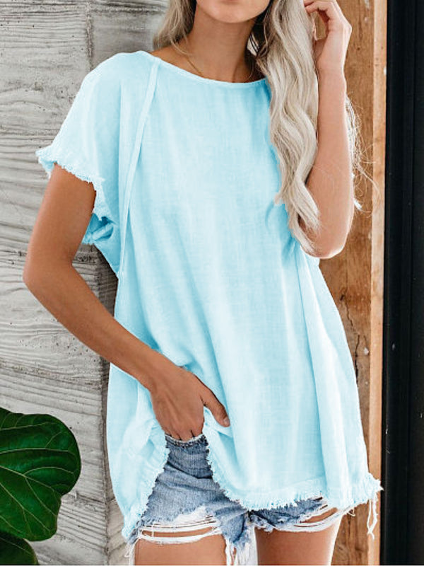 Cotton Solid Short Sleeve Shirts & Tops